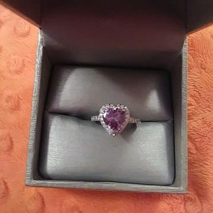 Ladies Heart Amethyst and topaz stoned ring